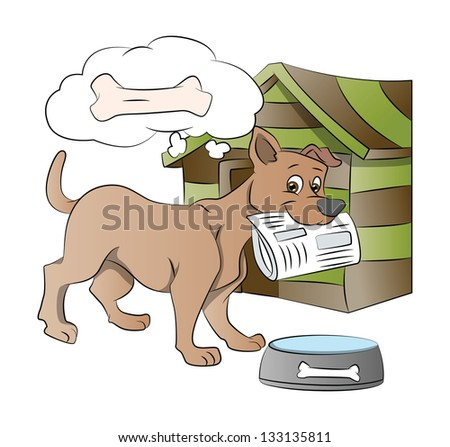 Dog Holding a Newspaper, Thinking of a Bone Reward, vector illustration - stock vector