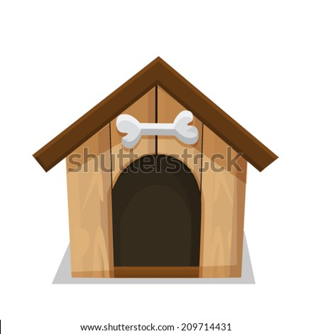 Dog House and Bone Isolated on White Background - stock vector