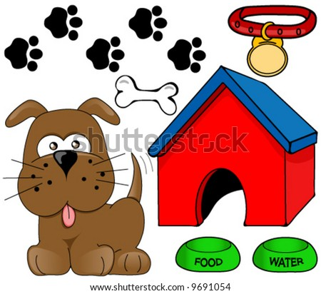 Dog,house,bone and other accessories. Vector design elements.