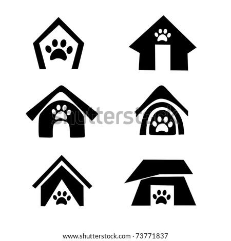 dog house symbol set - stock vector