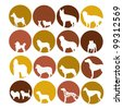 Dog icon set in circle style - stock vector