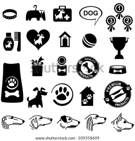 Dog icon set isolated on White background. Vector illustration - stock vector