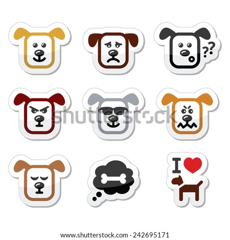 Dog icons set - happy, sad, angry isolated on white - stock vector