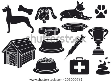 dog icons set (paw print, dog bone, pet food bowl, dog house, poo, syringe, trophy cup, dog collar, pet first aid) - stock vector