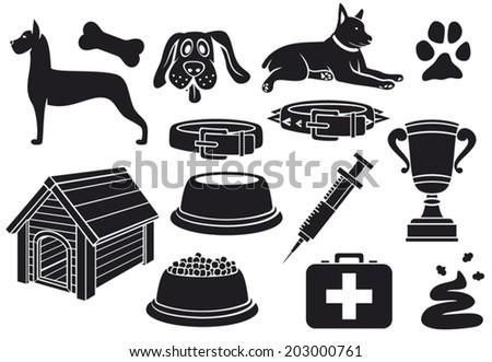 dog icons set (paw print, dog bone, pet food bowl, dog house, poo, syringe, trophy cup, dog collar, pet first aid) - stock vector