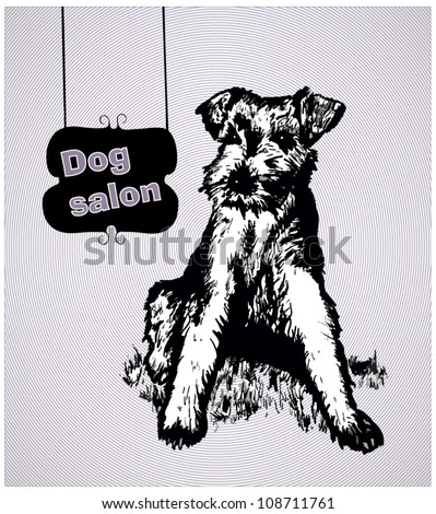 Dog in sketch style with hanging signs. Dog hair salon - stock vector