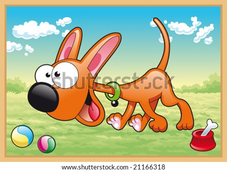 Dog is running in meadow with his toys - stock vector