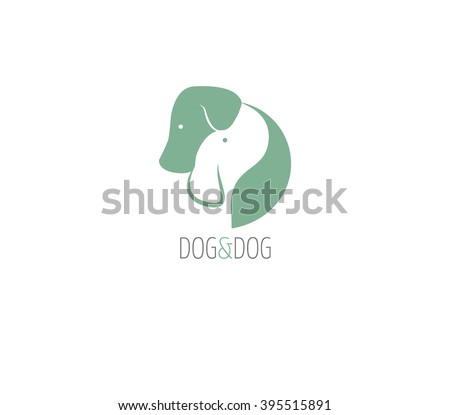 Dog logo,two dogs hugging