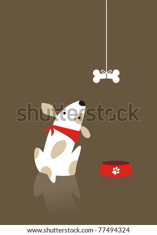 Dog looking the bone with desire - stock vector