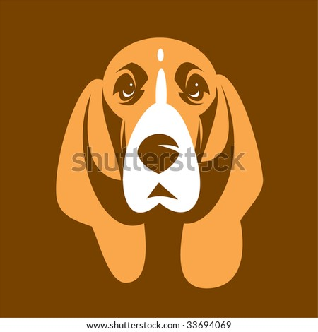 Dog of Basset. 2 colours without a gradient - stock vector