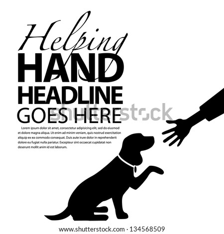 Dog offering paw shaking hands silhouette. EPS 8 vector, grouped for easy editing. No open shapes or paths. - stock vector