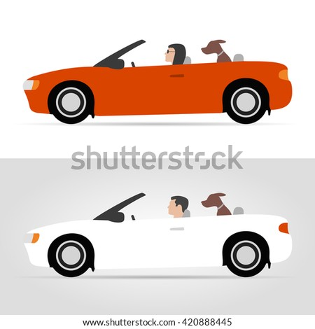 Dog on cabriolet - stock vector