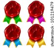 Dog or cat paw wax seal and color ribbon - stock