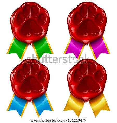 Dog or cat paw wax seal and color ribbon - stock vector