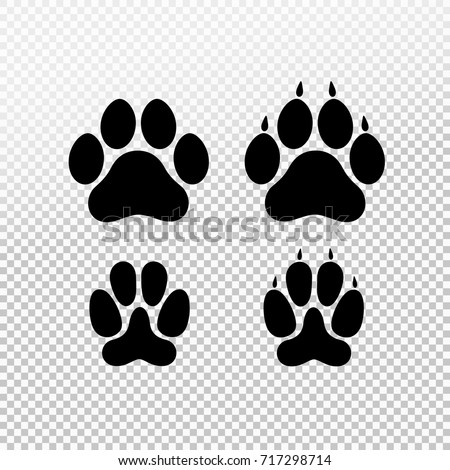 Dog cat set paw print flat stock vector 717298714 shutterstock dog or cat set paw print flat icon for animal apps and websites template for pronofoot35fo Choice Image