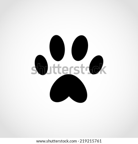 Dog paw Icon Isolated on White Background - stock vector