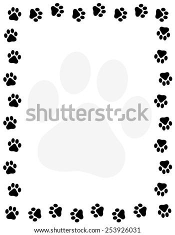Dog paw print border / frame on white background - stock vector