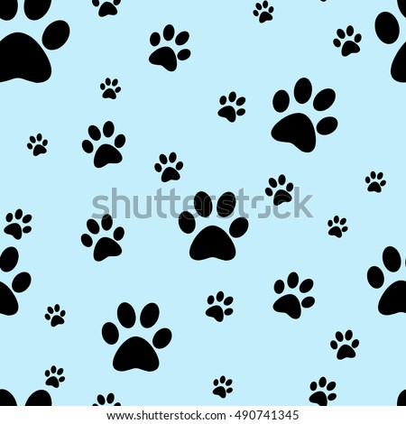 Dog paw print seamless. Traces of Cat Textile Pattern. Vector seamless.