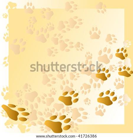 Dog paw prints - stock vector