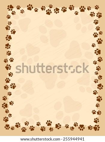 Dog paw prints border / frame on brown grunge background - stock vector