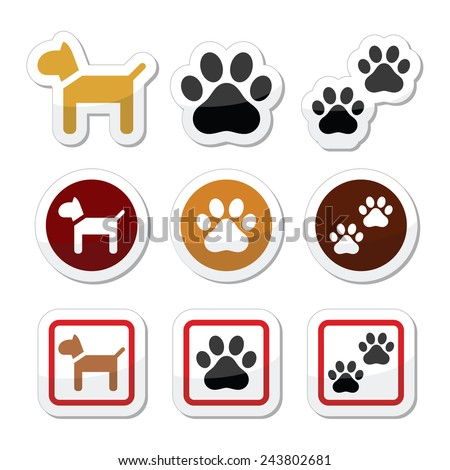 Dog, paw prints vector icons set - stock vector