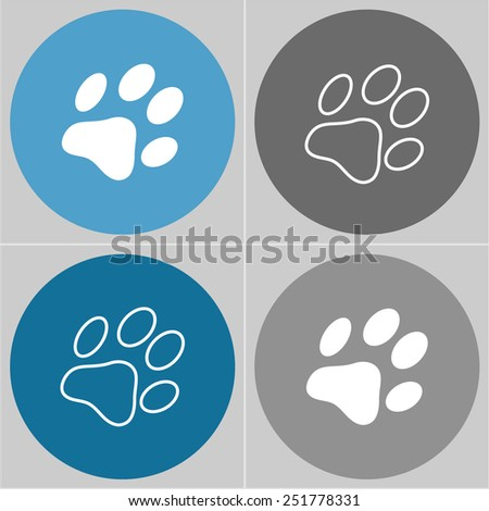 Dog paw sign icon. Pets symbol. Circle buttons . 4 icons set. Vector - stock vector