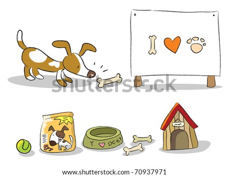 dog, pet items and banner vector set isolated on white - stock vector