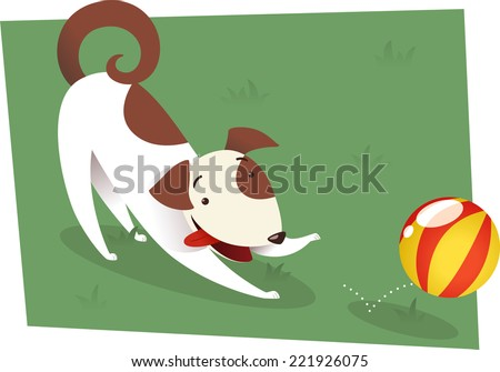 Dog playing to catch red and yellow ball. Brown and white dog playing on the grass or a formal garden with a ball vector illustration.  - stock vector