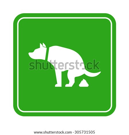 Dog poop zone sign isolated on white background - stock vector