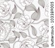 dog rose seamless pattern - stock vector
