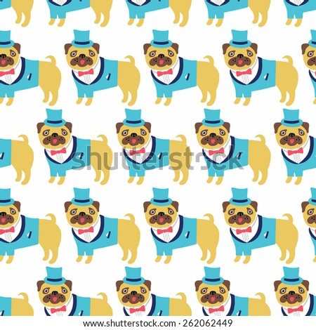 Dog seamless background. Vector illustration. - stock vector