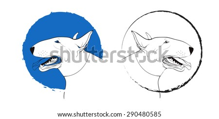 Dog sign. Stamp for logo.  Vector portrait of a dog. Pitbull. Happy pitbull looking with tongue out