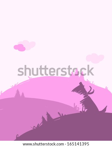 Dog silhouette, dawn landscape for your design - stock vector
