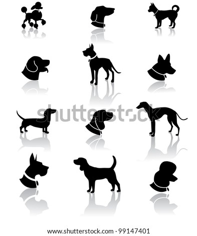 Dog Silhouette Icon Symbol Set EPS 8 vector, grouped for easy editing. No open shapes or paths. - stock vector