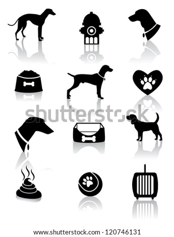Dog Silhouette Icons - stock vector