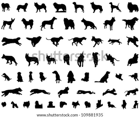 Dog Silhouettes - stock vector