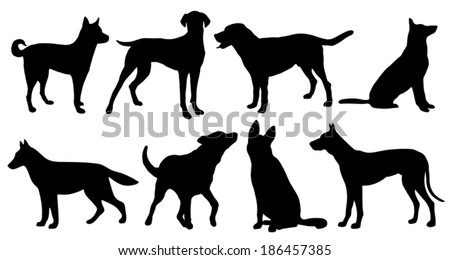 dog silhouettes on the white background - stock vector
