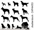 Dog Silhouettes - Vector. Easy Editable. (Check out my portfolio for other silhouettes). Enjoy - stock vector