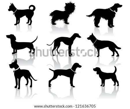 Dog Silhouettes Vector No open shapes or paths. - stock vector