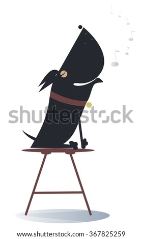 Dog sits on the chair and sings or howls   - stock vector