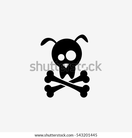 Dog skull and crossbones - vector illustration