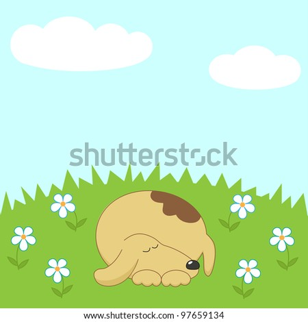 Dog sleeping on the meadow - stock vector
