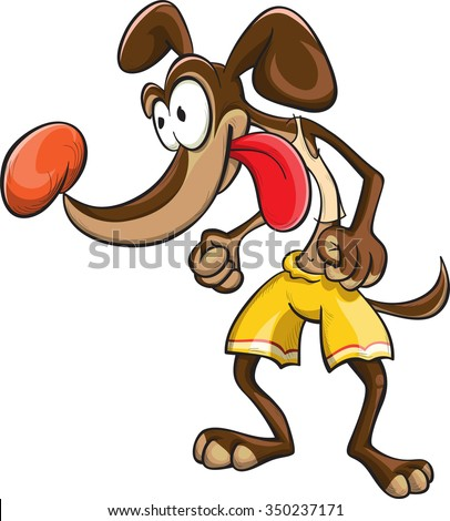 dog sportsman in yellow shorts, vector, cartoon, isolated on white