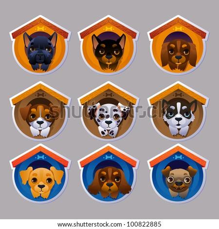 Dog stickers set - stock vector