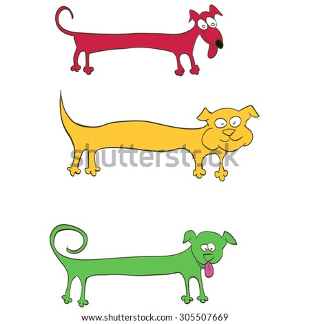 dog stretched out like a stencil for text - stock vector