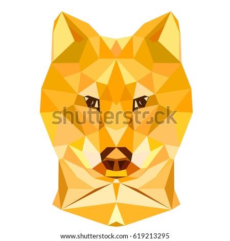 Dog stylized triangle polygonal model
