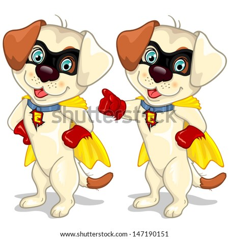 Dog superhero in two positions-The cloak can be removed-Effects and gradient mesh-EPS10 - stock vector