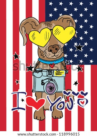 dog / T-shirt graphics / cute cartoon characters / cute graphics for kids / Book illustrations / textile graphic - stock vector