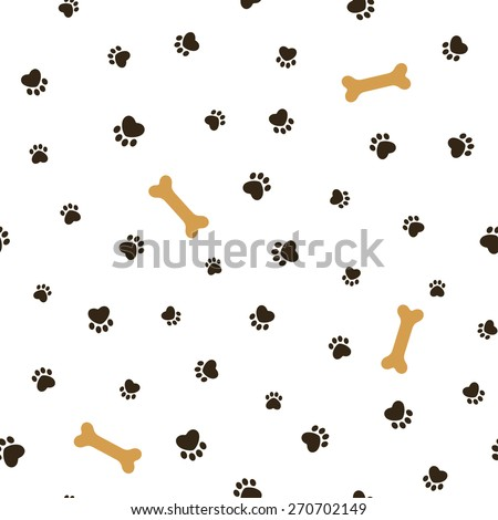 Dog theme seamless pattern with heart shaped animal paw footprints and bones