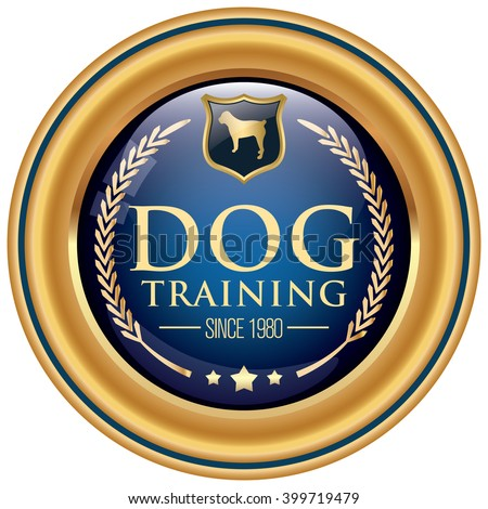 dog training icon - stock vector